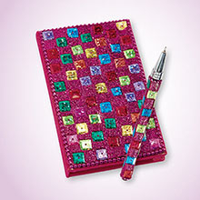 Fuchia Snazzy Sequined Notebook & Pen Set