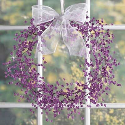 Purple Beaded Wreath