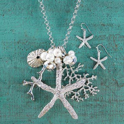 Silvery Starfish Necklace