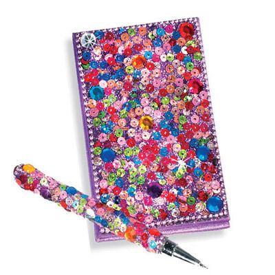 Purple Snazzy Sequined Notebook & Pen