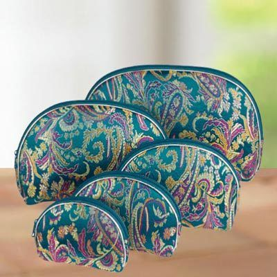 5-in-1 Paisley Cosmetic Bags