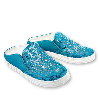 Woven Crystal Slip-On Shoes