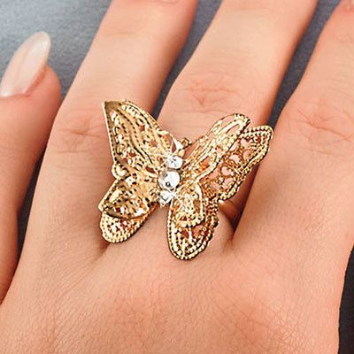 3-D Filigree Butterfly Ring