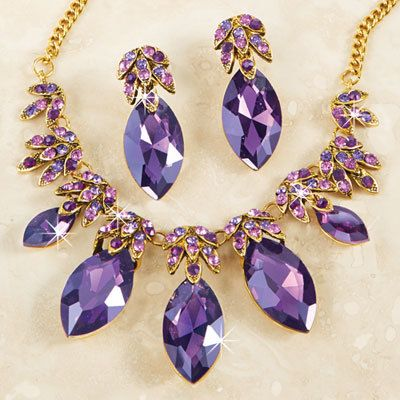 Purple Passion Teardrop Jewelry Set