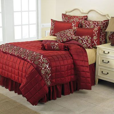 Burgundy Beaded Bedding