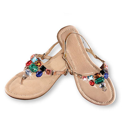 Jeweled Gold Sandals