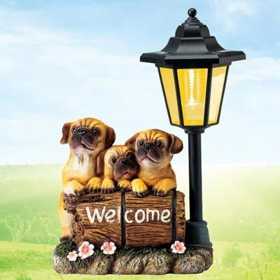 Welcome Pug Puppies Solar Lantern