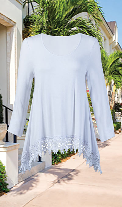Flowy Crochet-Trimmed Top