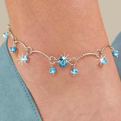 Mystic Blue Beaded Anklet