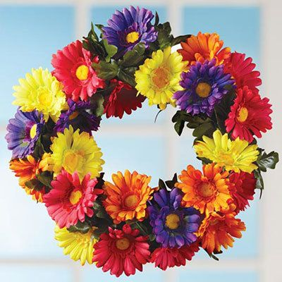 Colorful Daisy Wreath
