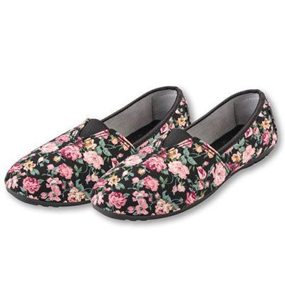 Pink Roses  Black Loafers