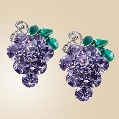 Sparkling Crystal Grape Earrings