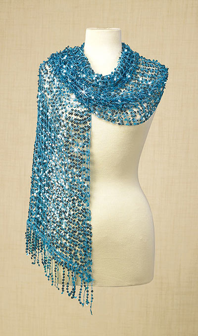 Aqua Sequined Scarf