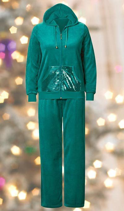 Sequin-Trimmed Velour Pant Set