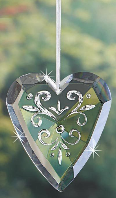 Floral Crystal Heart Ornament