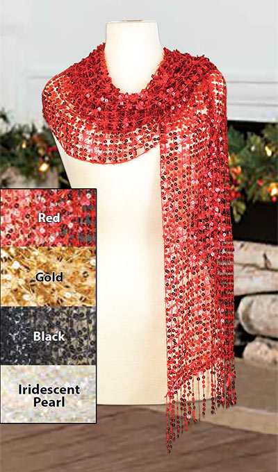 Sequined Scarf - Red