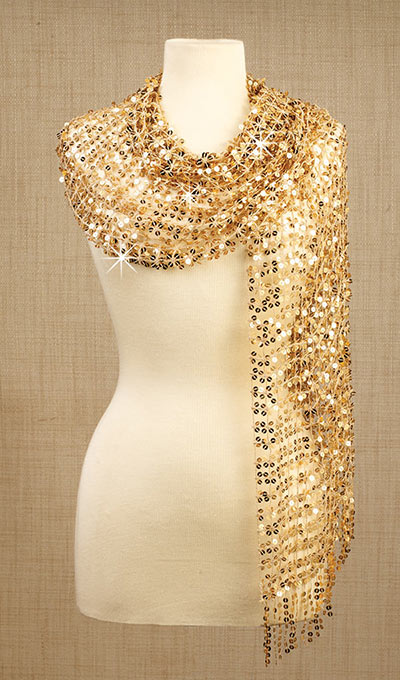 Sequined Scarve - Gold