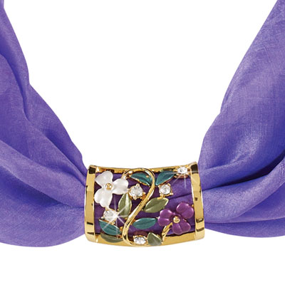 Violet Enameled Scarf Tube With Free Scarf